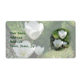 White Tulips Flower Trio Shipping Label