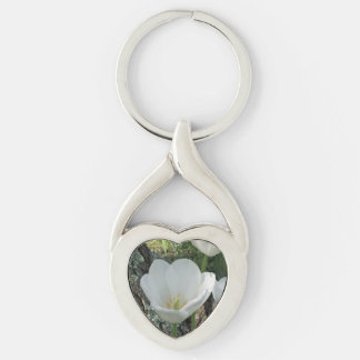 White Tulips Flower Trio Silver-Colored Twisted Heart Key Ring