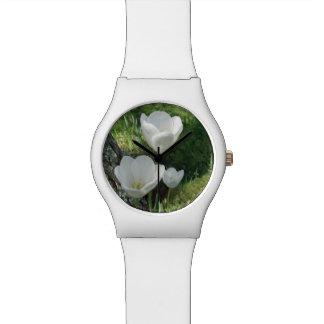 White Tulips Flower Trio Watches