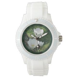 White Tulips Flower Trio Wristwatches