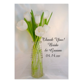 White Tulips in Bottle Wedding Favor Tags Business Cards