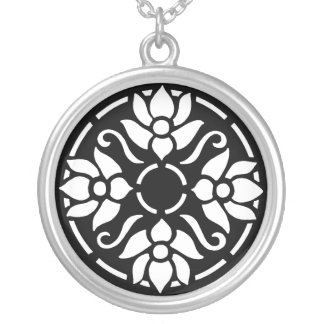 White Tulips in Circle Pendant