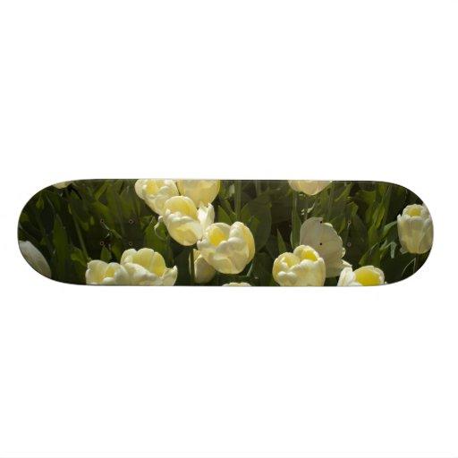 White Tulips in the Boston Gardens Custom Skate Board