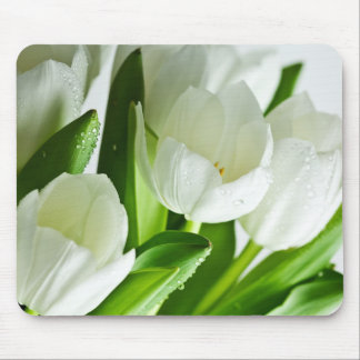 White Tulips Mouse Mat