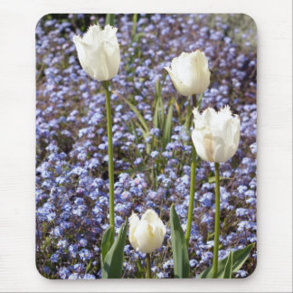 White Tulips Mouse Pads