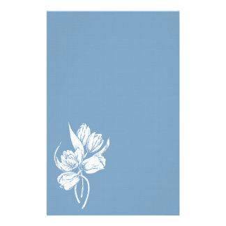 White Tulips on Dusk Blue Stationery