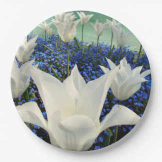 White Tulips Paper Plate