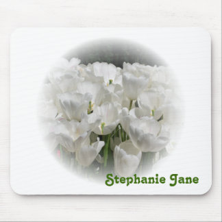 White Tulips Personalized Mousepad