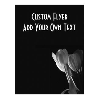 White Tulips Photo On Black Background 21.5 Cm X 28 Cm Flyer