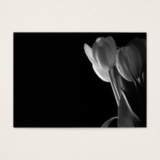 White Tulips Photo On Black Background Business Card