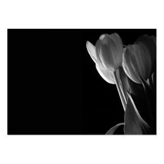 White Tulips Photo On Black Background Business Cards