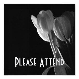 White Tulips Photo On Black Background Card