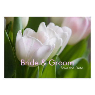 White Tulips • Save the Date Mini Card Business Card Templates