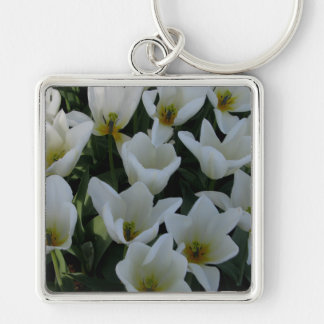 White Tulips Silver-Colored Square Key Ring