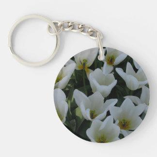 White Tulips Single-Sided Round Acrylic Key Ring