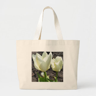 White Tulips Canvas Bags