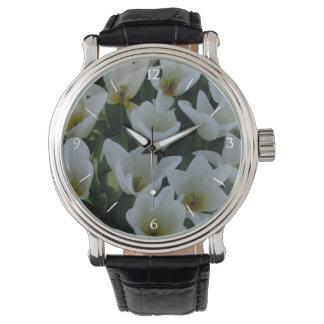 White Tulips Wrist Watch