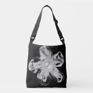 White tulle flower on black crossbody bag