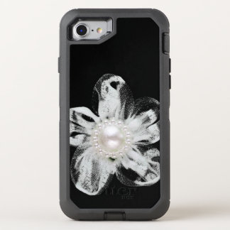 White tulle flower on black OtterBox defender iPhone 7 case