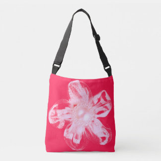 White tulle flower on vivid red crossbody bag