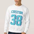 White & Turquoise Adults   Sports Football Jersey Sweatshirt