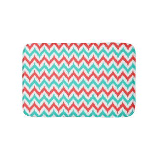 White, Turquoise and Coral Zigzag Ikat Pattern Bath Mat