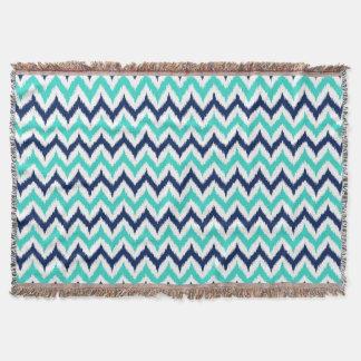 White, Turquoise and Navy Blue Zigzag Ikat Pattern