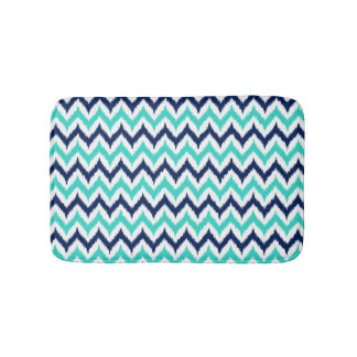 White, Turquoise and Navy Blue Zigzag Ikat Pattern Bath Mat