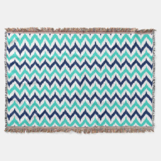 White, Turquoise and Navy Blue Zigzag Ikat Pattern Throw Blanket