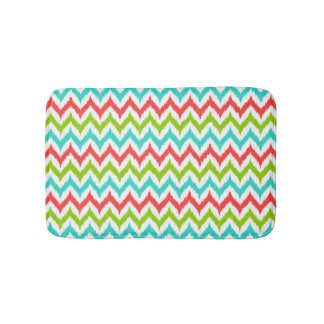 White, Turquoise, Green and Coral Zigzag Ikat Bath Mat