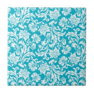 White & Turquoise Vintage Floral Damasks Tile
