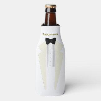 White Tuxedo Groomsman Wedding Bottle Cooler