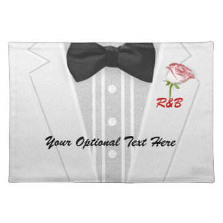 White Tuxedo Monogram with Rose Place Mat