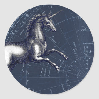 White Unicorn against Blue Celestial Map Classic Round Sticker