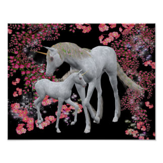 White Unicorn And Foal Fantasy Poster