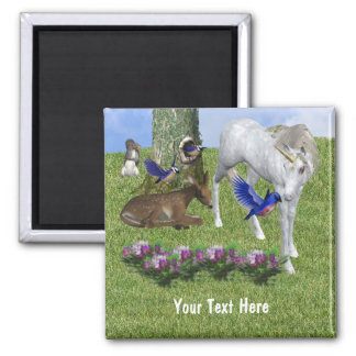 White Unicorn And Forest Friends Fantasy Magnet
