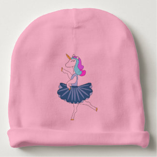 White unicorn blue ballerina dance baby beanie