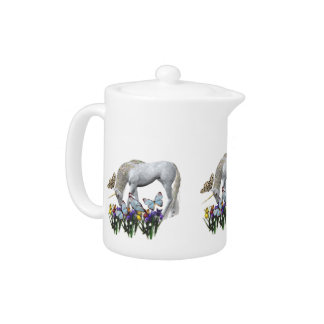 White Unicorn Blue Butterflies Cute Teapots