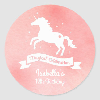 White Unicorn Girls Birthday Party Decor Stickers