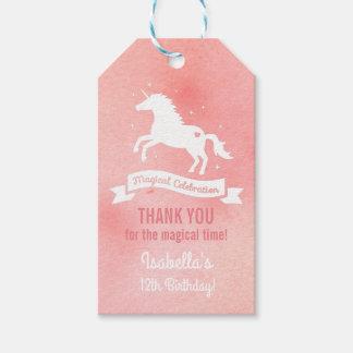 White Unicorn Girls Birthday Party Gift Tags