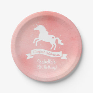 White Unicorn Girls Birthday Party Supplies Paper Plate