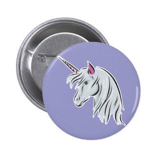 white unicorn head 6 cm round badge