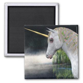 White Unicorn In Mist Fantasy Magnet