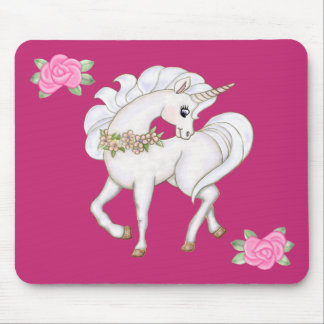 White Unicorn Mouse Mat
