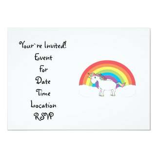 White unicorn on rainbow and clouds card