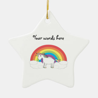 White unicorn on rainbow and clouds ceramic star decoration