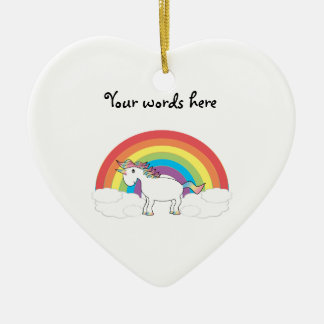 White unicorn on rainbow and clouds christmas ornament