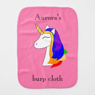 White unicorn rainbow hair baby burp cloth