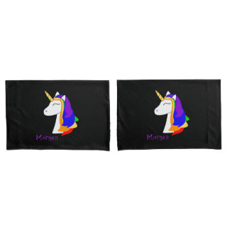 White unicorn rainbow hair black pillowcase