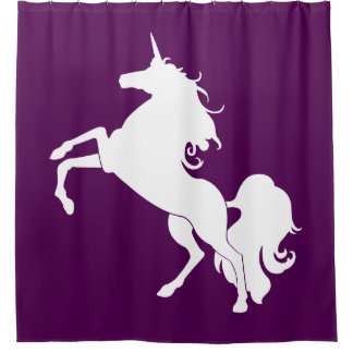 White Unicorn Silhouette Custom Shower Curtain